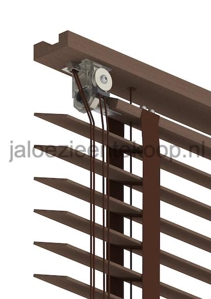 houten jaloezie open bak walnoot